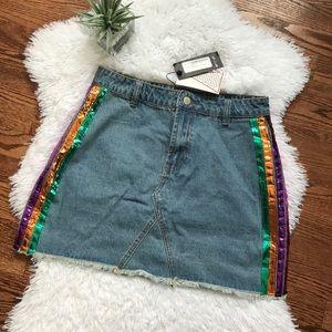Nasty Gal rainbow stripe distressed denim skirt